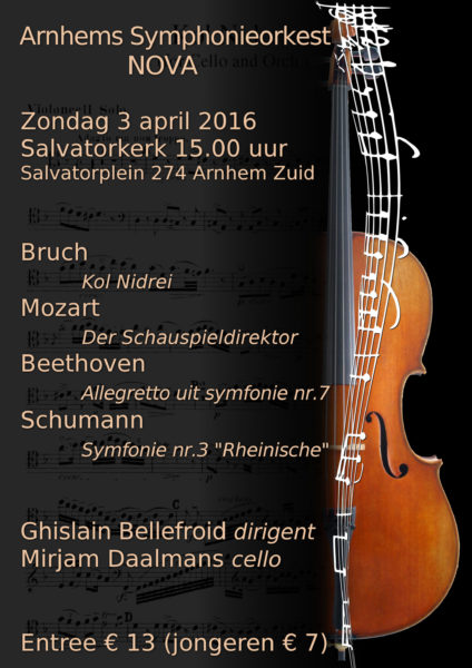 Kol Nidrei met Arnhems Symphonieorkest NOVA en celliste Mirjam Daalmans (cello solo) Arnhem