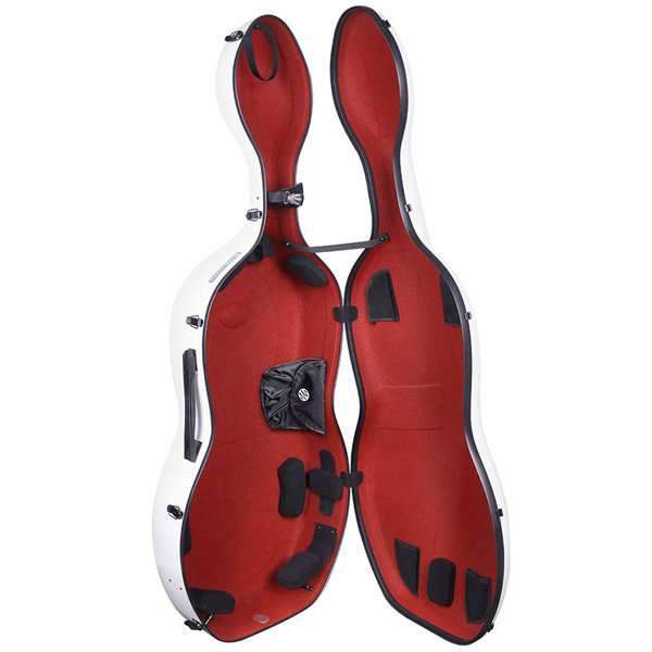 Cello koffer Musilia S1 Wit met rood interieur