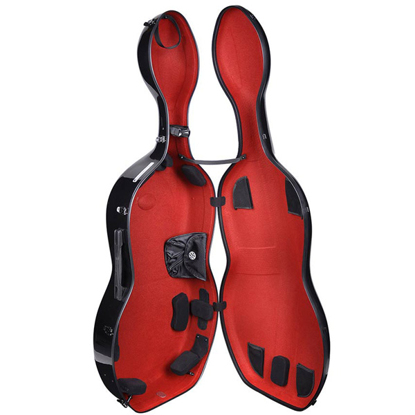Cello koffer Musilia S1 Zwart met rood interieur