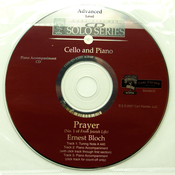 Ernest Bloch Prayer (No. 1 of From Jewish Life) cello en piano met cd