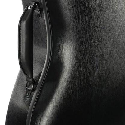 Cellokoffer Starter in geborsteld zwart (detail handgreep)