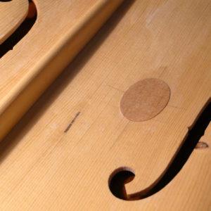 Zangbalk en f-gat cello