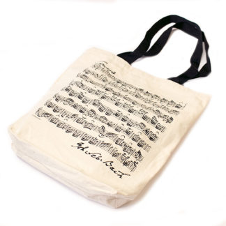 Shopper Strand tas ecru bladmuziek Bach met lange hengsels