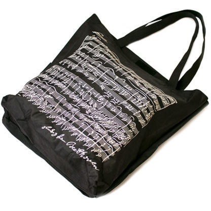 Shopper tas Bladmuziek Beethoven Zwart gevoerd met portemonnee vak