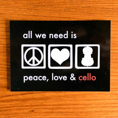Ansichtkaart All we need is peace, love & cello