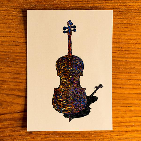 Ansichtkaart Cello klankkleuren