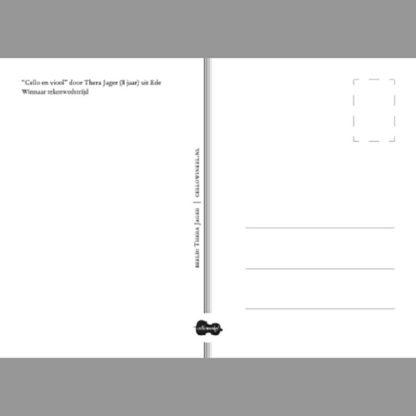 Cello Ansichtkaart 'Cello en viool' door Thera Jager, winnaar tekenwedstrijd 2018