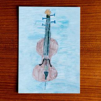 Cello Ansichtkaart 'Cello' door Lieke Neelen, winnaar tekenwedstrijd 2018