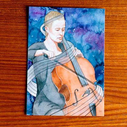 Cello Ansichtkaart 'Passiebeest' door Eline Melissen, winnaar tekenwedstrijd 2018