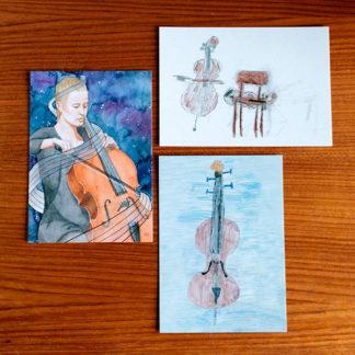Cello Ansichtkaarten set C met 3 kaarten tekenwedstrijd 2018