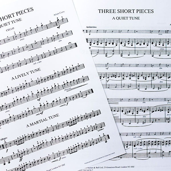 Adam Cares Three Short Pieces for cello and piano