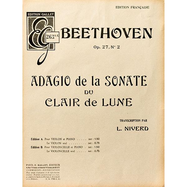Beethoven Opus 72 No 2 Adagio de la Sonate du Clair de Lune voor cello