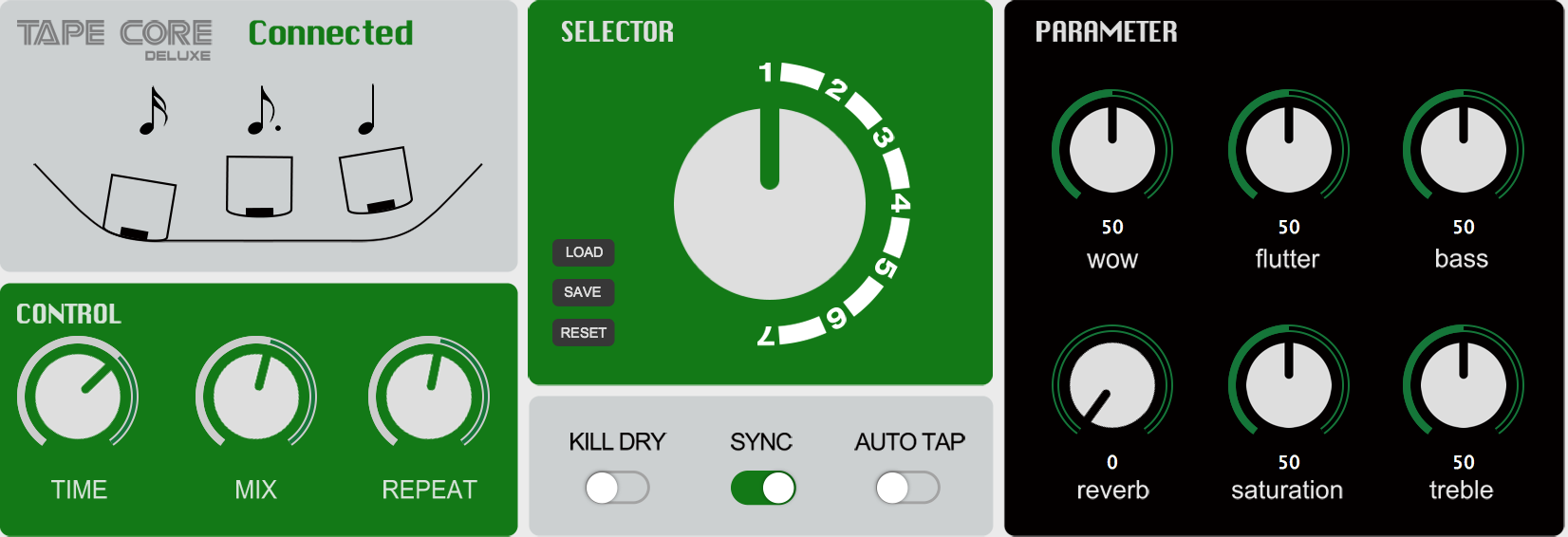 NUX Tape Core Deluxe delay pedaal cello tape core editor