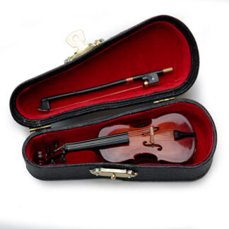 Cello miniatuur met strijkstok en koffer