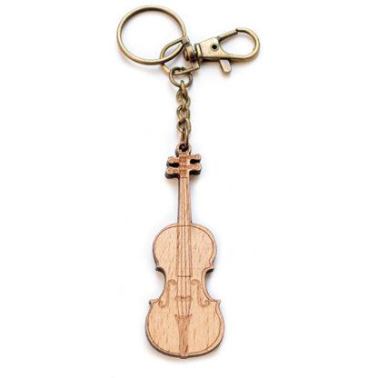 Cello sleutelhanger hout en messing