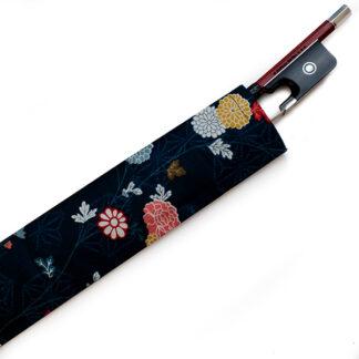 Strijkstokhoesje donkerblauw japanse bloemen