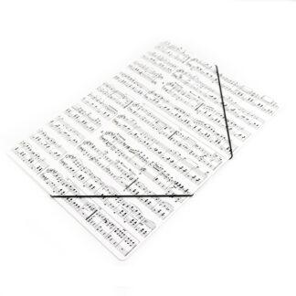 Elastomap tekenmap wit met bladmuziek notenbalken elastiek