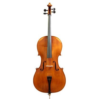 Vooraanzicht Anticky cello Praag Tsjechie Antique finish