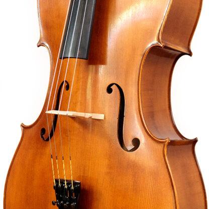 Zijaanzicht Anticky cello Praag Tsjechie Antique finish
