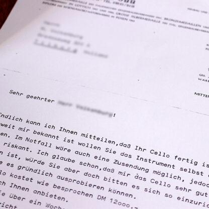 Aanbiedingsbrief Kantuscher Mittenwald 1974 cello