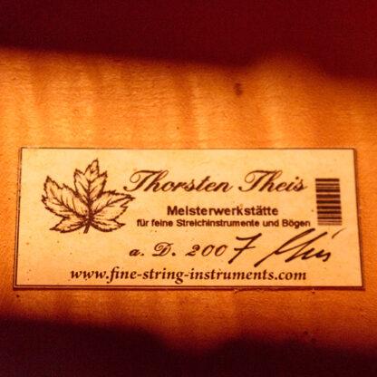 Etiket label Cello Thorsten Theis 2007 Montagnana model