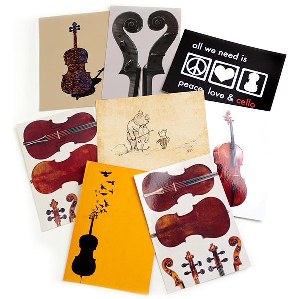 Set ansichtkaarten 8 kaarten met het thema cello